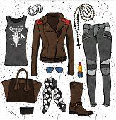 foto of outfits  - Fashion illustration clothing set - JPG