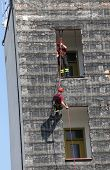 stock photo of fire-station  - training on manoeuvre building firefighters in fire station - JPG