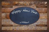 stock photo of bulletin board  - Bulletin board made in wood with Happy New Year - JPG
