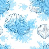 picture of shell-fishes  - Blue marine vector seamless pattern with sea shells and fishes - JPG