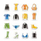Постер, плакат: Простая одежда и платье значки