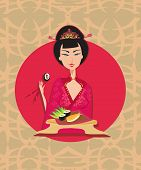 picture of geisha  - Abstract card with sushi and geisha  - JPG