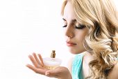 picture of perfume bottles  - Beautiful young woman with perfume bottle isolate on white - JPG