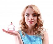 picture of perfume bottles  - Beautiful young woman with perfume bottle isolated on white - JPG