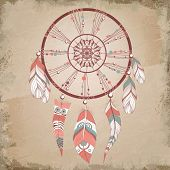 foto of dream-catcher  - Vector illustration of romantic dream catcher with feathers - JPG