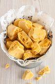 stock photo of toffee  - Honeycomb or cinder toffee - JPG