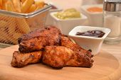 image of chicken wings  - Fried chicken wings and sauce dip background - JPG