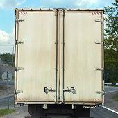 image of moving van  - rear view on the body cargo van - JPG