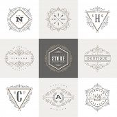pic of boutique  - Monogram logo template with flourishes calligraphic elegant ornament elements - JPG