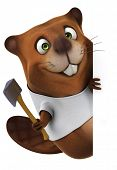stock photo of muskrat  - Beaver with a white tshirt - JPG