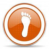 stock photo of webbed feet white  - foot orange icon   - JPG