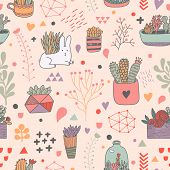 pic of house-plant  - Sweet floral seamless pattern made of different house plants and cute rabbit in pink colors - JPG