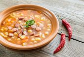 picture of chickpea  - Portion Of Soup With Chickpeas And Smoked Sausage - JPG