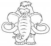 pic of mammoth  - Black And White Mammoth Cartoon Character - JPG