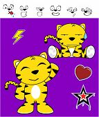 foto of cute tiger  - cute tiger funny expressions cartoon set in vector format very easy to edit - JPG