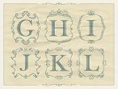 stock photo of letter j  - Vintage calligraphic letters in monogram retro frames - JPG
