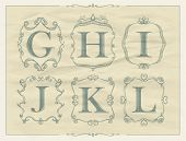 foto of monogram  - Vintage calligraphic letters in monogram retro frames - JPG