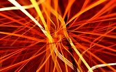 picture of fiery  - abstract fractal with yellow and orange fiery stripes on red background - JPG