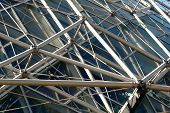 foto of geodesic  - external view of geodesic structure with pipes and triangles - JPG