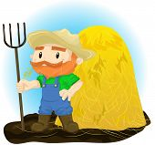 picture of haystack  - Illustration of a farmer with a pitchfork in his hand against the background of haystacks - JPG
