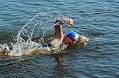 The Sportswoman Swim In Water