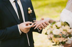 image of wedding  - wedding rings and hands of bride and groom - JPG