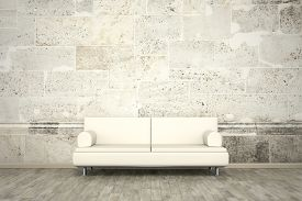 stock photo of mural  - 3d rendering of a sofa in front of a photo wall mural stone wall - JPG