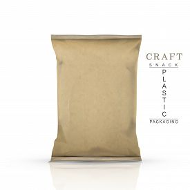 stock photo of packages  - craft snack plastic packaging isolated on white - JPG