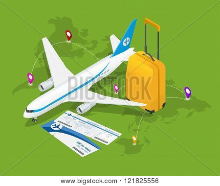 poster of Travel isometric composition. Travel and tourism background. Flat 3d Vector illustration. Travel ban