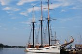 stock photo of yardarm  - tall ship at port - JPG