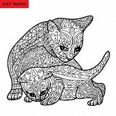 Постер, плакат: Cat Mother And Her Kitten Coloring Book For Adults Zentangle Cat Book