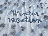 Winterurlaub, Wörter auf Schnee