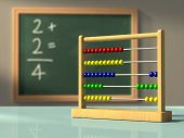 Abacus in front of a chalkboard, used to solve simple calculations. Digital illustration.