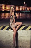 Foto de tipo glamour de Linda rubia sentada en el puente de la ciudad