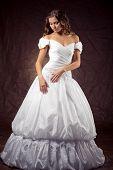 Постер, плакат: Мода модель носить свадебное платье на фон коричневая студии
