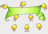 Cartoon birds holding a banner