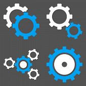 Постер, плакат: Gear Wheels Flat Vector Symbols