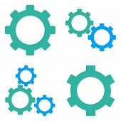 Gears Flat Vector Symbols poster
