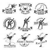 Постер, плакат: Ice Skating label logo set