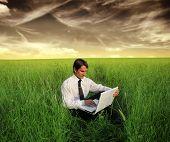 homem de negócios usando o laptop em um campo de grama