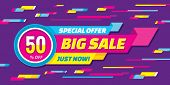 Big sale abstract vector origami horizontal banner - special offer 50% off. Sale vector banner. poster