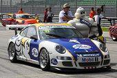 mascot and race car
