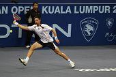 KUALA LUMPUR, MALAYSIA - OCTOBER 2: Swedenâ's Robin Soderling returning a shot in the Malaysian Open Tennis ATP tour. October 2, 2009 in Kuala Lumpur Malaysia.