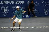KUALA LUMPUR, MALAYSIA - OCTOBER 2: Czech Republicâ's Tomas Berdych prepares to return a shot in the Malaysian Open Tennis ATP tour. October 2, 2009 in Kuala Lumpur Malaysia.