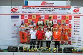 SEPANG, MALAYSIA - JUNE 21: The GT300 winners podium after the prize presentation at the Super GT In