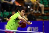 KUALA LUMPUR, MALAYSIA - SEPTEMBER 24: Guo Yue of China (ITTF World Rank 7) serves in her match at t