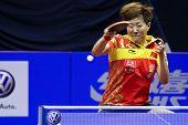 KUALA LUMPUR, MALAYSIA - SEPTEMBER 24: Guo Yan, China (ITTF World Ranking #3) smashes the ball durin