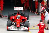 KUALA LUMPUR - APRIL 2: Ferrari's driver Felipe Massa exits the garage for his practice laps on prac