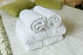 Towel in Hotel bedoom. Welcome guests room service poster
