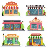 Shops and stores icons set in flat design style. shop, newspaper shop, coffee shop, ice cream shop, poster